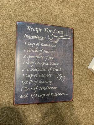 """Recipe for Love"" Wall Decoration for Sale in Rock Island, IL"