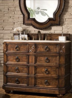 """41"""" English Burl Sink Birch Wood with Marble Top NEW in Boxes for Sale in Young, AZ"""