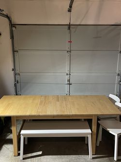 IKEA Table (w/leaf) + 2 Chairs + 2 Benches for Sale in Shoreline,  WA