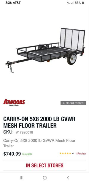 CARRY-ON 5X8 2000 LB GVWR MESH FLOOR TRAILER for Sale in Azle, TX