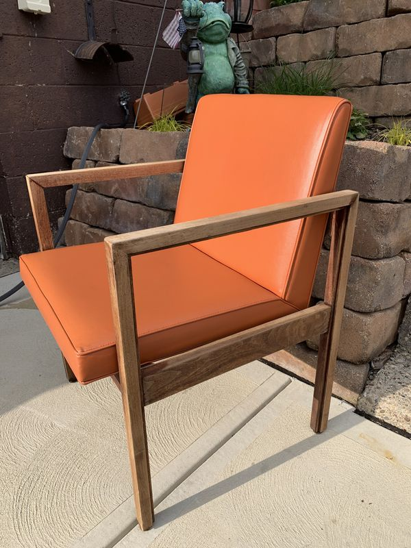 Rare find! Beautiful orange mid century modern side chair from Domore furniture