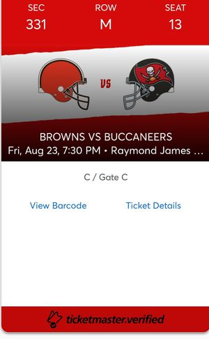 Tampa Bay Buccaneers vs Cleveland Browns Aug.23rd for Sale in Tampa, FL