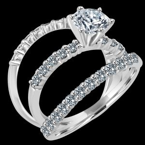 1CT ( 6.5mm) intensely brilliant Round Trio Wedding ensemble Set Simulated Diamond - Diamond Veneer set Sterling Silver Engagement Ring. 635R71359 for Sale in Coronado, CA