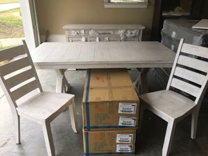 Brand new Lifestyle 8pc Rustic Farmhouse Antique White Dining Set for Sale in Willow Spring, NC