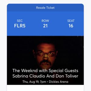 The Weeknd After Hours Concert Ticket for Sale in Carrollton, TX