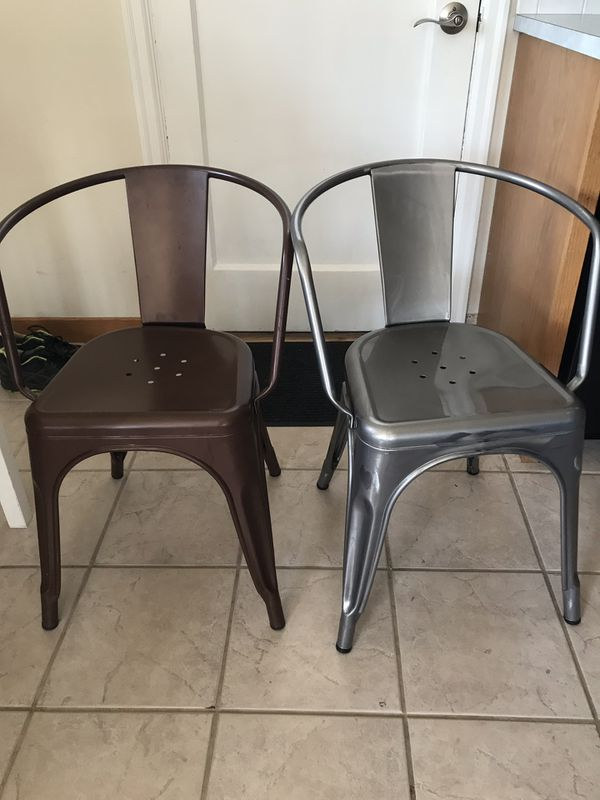 Set of FOUR Metal dining room chairs