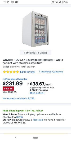 Whynter - 90-Can Beverage Refrigerator - White cabinet with stainless steel trim for Sale in Montclair, CA