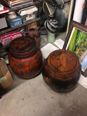 2 antique china rice buckets for Sale in Los Angeles, CA