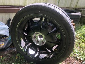"""22"""" rims and tires black but can be sand blasted back to chrome. for Sale in Yorkana, PA"""