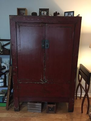 Antique imported Chinese Armoire - gorgeous red w/ custom shelves for Sale in Lombard, IL