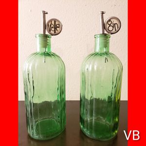 Vintage Vodka & Gin Green Glass Liquor Decanter's With Pouring Spout Set of 2. for Sale in Tampa, FL