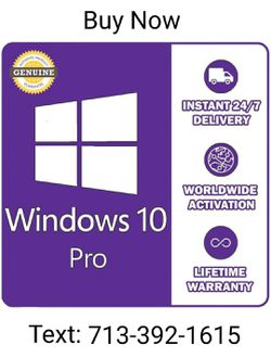 Windows 10 Pro Professional Activation Code 32/64bit Licence Key Genuine ( 1 users ) for Sale in Houston,  TX