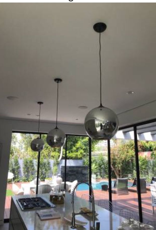 Glass chrome pendent lighting chandelier fixture new in box super nice and slick new in box selling all 3 for $220 don't miss out