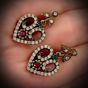 PIGEON BLOOD RUBY EMERALD FINE ART EARRINGS Solid 925 Sterling Silver/Gold WOW! Brilliant Facet Round Cut Gems, Diamond Topaz M5934 V for Sale in San Diego, CA