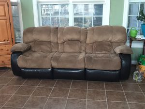 Faux suede and leather couch/loveseat combo for Sale in Purcellville, VA
