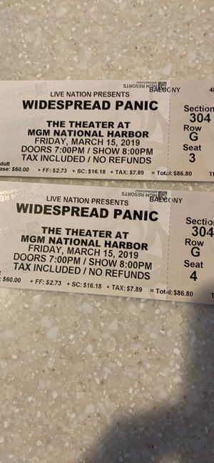 Widespread Panic Tickets tonight at MGM for Sale in McLean, VA