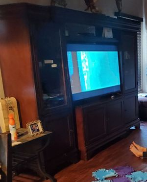 FREE Entertainment Center. Beautiful Cherry wood with plenty of shelves for pictures or storage. Adjustable center and side for Sale in Chula Vista, CA