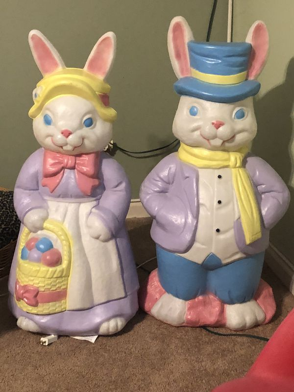 Mr and Mrs rabbit Easter blow molds