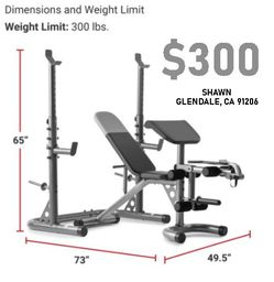OLYMPIC WEIGHT BENCH W/ADJUSTABLE SQUAT RACK for Sale in Glendale,  CA