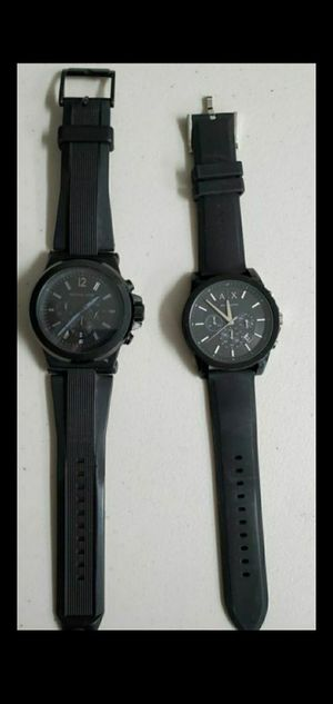 NEW MINT CONDITION ARMANI EXCHANGE MICHAEL KORS BLACK MATTE SILICONE MEN WATCHES MUST SELL for Sale in Anaheim, CA
