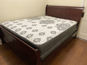 Brand new cherry sleigh bed with mattress and box spring for Sale in Northlake, IL