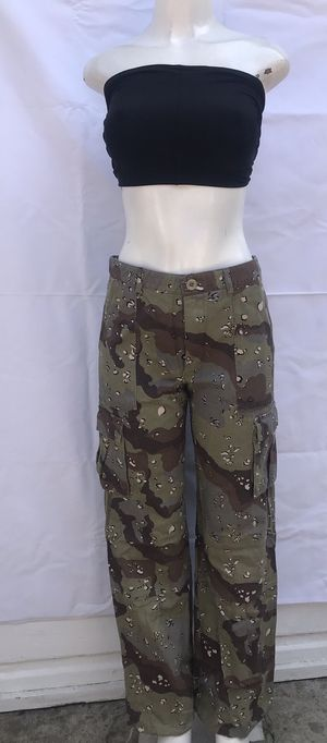 Woman camo military denim pants / new with tags / size large for Sale in Los Angeles, CA