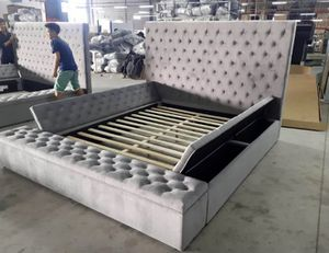 New GREY Queen Size Bed Frame With Storage for Sale in Austin, TX