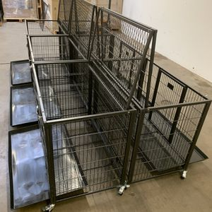 Brand new HD dog kennel cage back to back or side by side🐕 see measurements and pictures🇺🇸 with plastic tray and wheels open top🐕🦺 for Sale in Tolleson, AZ