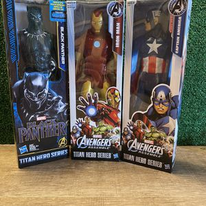 "Hasbro Black Panther, Iron Man and Captain America 12"" for Sale in El Paso, TX"