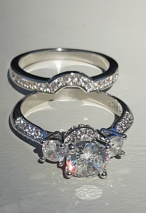 Brilliant Cut White Sapphire Silver Ring Set Size 9 Stamped for Sale in Union, WA