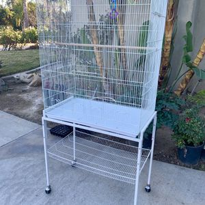 large white rolling bird cage for Sale in Riverside, CA