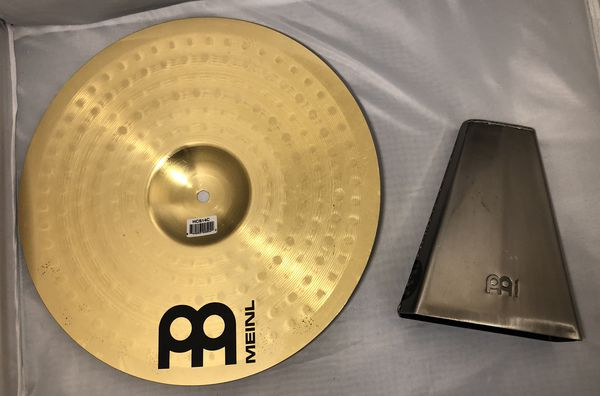 """Meinl 14"""" Crash Cymbal – HCS Traditional Finish Brass for Drum Set, Made In Germany, (HCS14C) & Meinl STB815H Hand Cowbell"""