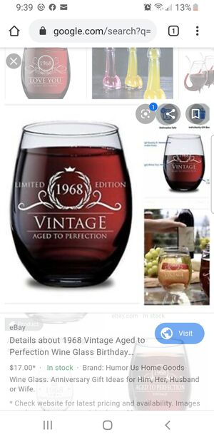 1968 wine glass collection Birthday gift for Sale in Carson, CA