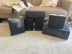 Definitive technology speakers with denon receiver for Sale in Brookeville, MD