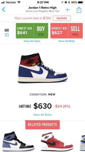 Air Jordan 1 Retro High Union Los Angeles Blue Toe Size 10 Deadstock DS for Sale in New York, NY