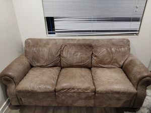 Leather Couch 3 cushions for Sale in Chico, CA