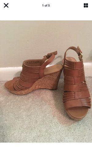 Franco Sarto Brown Cork Open Toe Wedge Platform (1.5in) Heel (3 in) Sandals 9.5 for Sale in Arlington, VA