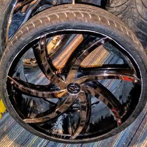 """22""""assive turbino rims/inserts chrome black tires wheels for Sale in Harvey, IL"""