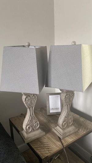 PAIR OF GREY LAMPS for Sale in Rosedale, MD