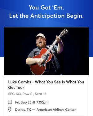 Luke Combs Sec 103 , row S, seat 15 for Sale in Euless, TX
