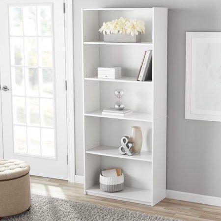 MS 5-Shelf Standard Bookcase, White