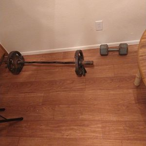Curl Bar And 25 Pound Weights With A 40 Pound Dumbbell for Sale in Glendale, AZ