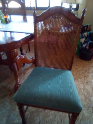 Claw dining table with four oak teal upholstery chairs for Sale in Oroville, CA