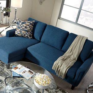 Jarreau Blue Sofa Chaise Sleeper $39 down payment for Sale in Arlington, VA