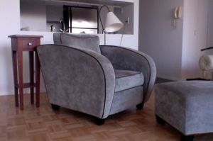Vintage Art Deco arm chair & ottoman for Sale for sale  New York, NY