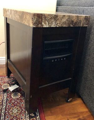 Granite top side table with built-in heater and roller legs for Sale in Irvine, CA