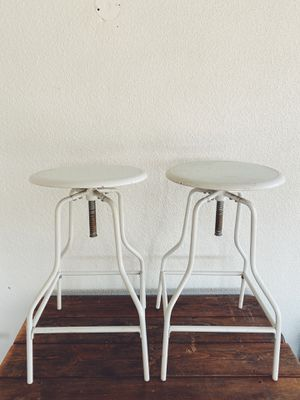 Vintage style white metal adjustable stools for Sale in Kingsburg, CA