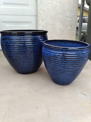 """New Planting Pot """"Ribbed Province Blue Ceramic 15in. & 12in."""" $60$ 😷 for Sale in San Bernardino, CA"""
