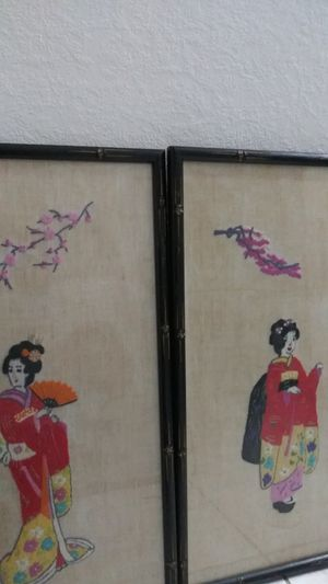 Geisha Girl Embroidery Artwork $10 for both for Sale in VLG WELLINGTN, FL