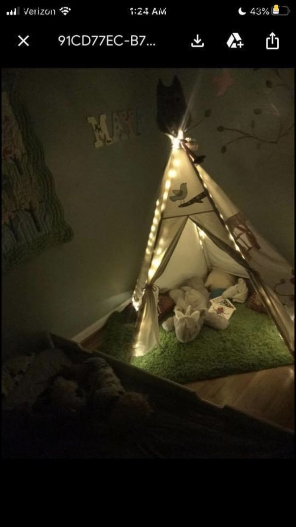 Gorgeous teepee with twinkle lights